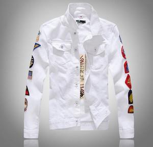 2019 SPRING nuovo Manicotto da uomo più etichetta bianco Denim Jacket Design Spring Jacket Jean Coats Taglia unica monopetto M-5XL