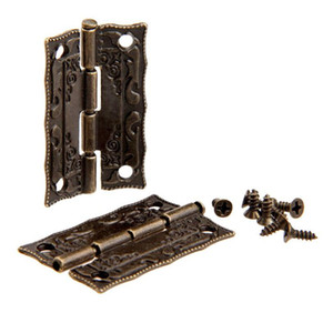 New Home Cabinet Door Hinge Door Hinges For DIY Box Furniture Hinges With Screws 4 Holes Bag Accessory Bronze Tone