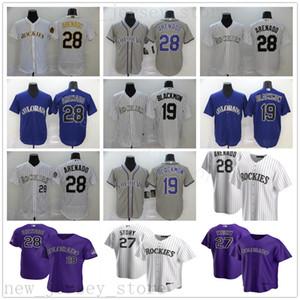 2020 nuevas temporadas de béisbol Nolan Arenado 28 jerseys cosido 19 Charlie Blackmon 27 Trevor historia mejor calidad oro blanco púrpura gris jerseys
