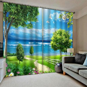 New curtain custom simple personality creative bedroom living room bay window blackout curtains beautiful scenery 3d curtain