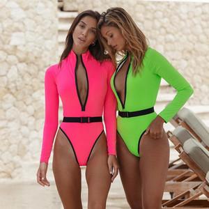 Sexy sport della chiusura lampo Costume intero manica lunga al neon fluorescente Swimwear Cintura donna Body High Cut Surf Suits Rash Guard costume da bagno