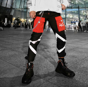 Uomini riflettente righe Tactical Pants Hip Hop coulisse Maschio Streetwear Pantaloni Pantaloni sportivi pantaloni casual pantaloni cargo matita