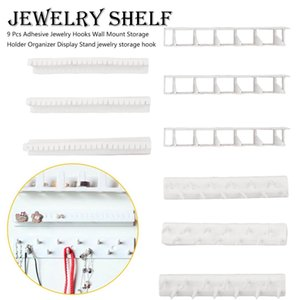 9 Pcs Adhesive Jewelry Hooks Wall Mount Storage Holder Organizer Display Stand jewelry storage hook