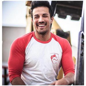 ALPHALETE Yeni Erkekler Üç Çeyrek Kollu T-Shirt Pamuk Spor Salonları Spor Egzersiz Giyim Erkek Rahat Moda Marka Tees Tops