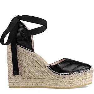 2020 femmes cuir Wedge plate-forme espadrille de cuir Mode grosgrain Cordon à lacets Sandales à plateforme en cuir vachette toile Chaussures Designer