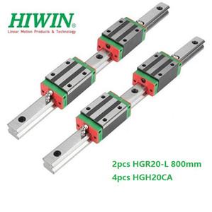 2pcs Original New HIWIN HGR20 - 800mm linear guide rail + 4pcs HGH20CA linear narrow blocks for cnc router parts