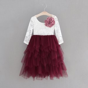 Girls Lace Dress Long Sleeve Pearl applique Tiered Tulle Gauze Long Party Princess Dress Children Clothing 1-10Y E15169 T200709