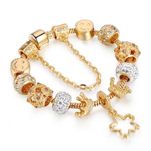 La moda de joyería de los granos de Pandora serpiente de cristal pulsera de cadena del corazón afortunado rosado brazaletes del oro KC pulsera para las mujeres con el bolso