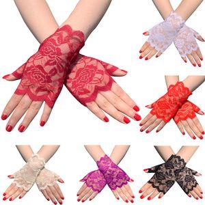 Эластичные кружевные перчатки без пальцев Свадебные церемонии Длина запястья Короткие перчатки для вечеринок Декоративные платья невесты Аксессуары для женщин