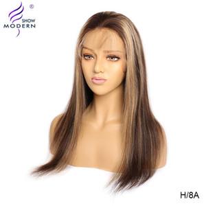 البرازيلي الملونة باروكات الشعر الإنسان 13x4 العسل البارز مستقيم الجبهة الرباط الإنسان باروكات الشعر للنساء ريمي 150٪ الحديثة مشاهدة
