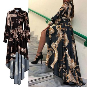 2020 Autumn Womens Maxi Baroque Print Lantern Sleeve Long Sleeve Button Bandage Elegant Dress Slit Evening Party Sun Dress