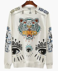AALModa cremallera de hombro del diseñador de Kenzo hombres de la alta calidad con capucha bordada con capucha de las mujeres cabeza de tigre