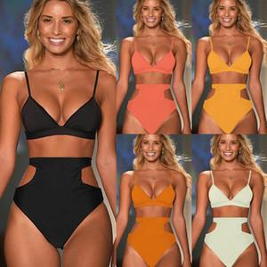 Havuz Partisi Kadın Yüksek Bel Swimsuit için Baskı Moda Marka Üç parçalı Bikini ile Bölünmüş Bel Mayo