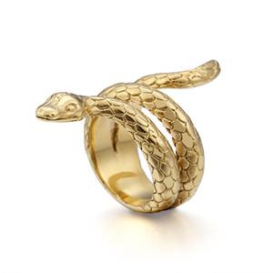 Ювелирные изделия Ретро Punk кольцо Cobra Мужские кольца змейки Титан Сталь Серебро Золото Цвет Vintage кольца способа перевозка груза падения