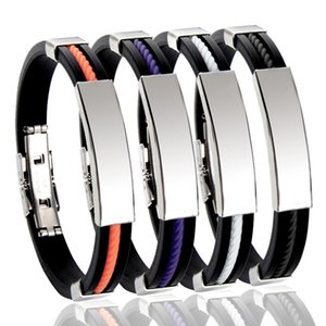 Регулируемая персонализированных нержавеющей стали ID Tag Женщины Мужские браслеты из натуральной кожи браслет Имя Дата Custom Gift