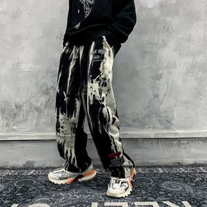 Tie Die Сыпучие вскользь Pantalones мужских брюк Streetwear мужчины и женщины Багги Тренировочные брюки Плюс Размер мужских Sweatpants