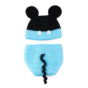 Entzückende neugeborene Cartoon-Maus-Outfits, handgefertigte stricken häkeln Baby Boy Girl Tier Hut und Windel Cover Set, Infant Halloween Foto Prop