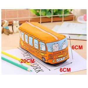 Bonito School Bus caixa de lápis de laranja saco do lápis carro da lona de grande capacidade amarelo azul vermelho de maquiagem saco bolsa Cosmetic