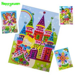 Happyxuan 12st 3D-Mosaik-Aufkleber Kunst Kinder Puzzle Sticky Eva DIY Bastelset Montessori Vorschullernspielzeug Kreative CX200605