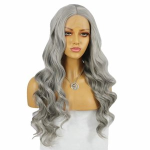 Silver Grey Long Loose Body Wave Synthetic Lace Front Wig for Women Middle Part Heat Resistant Fiber Dairly Wear Synthetic Wig for Cosplay
