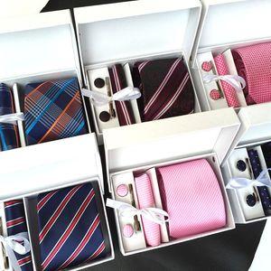 6 teile / satz Männer Krawatte Set Krawatte Manschettenknöpfe Taschentücher Krawattenklammer Geschenkbox für Anzug der Geschäftshochzeitsmänner