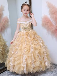 Champagne Puffy Ball Gown Flower Girl Dress off the shoulder Kids Clothes Pageant Gowns Real Picture Custom Made Size