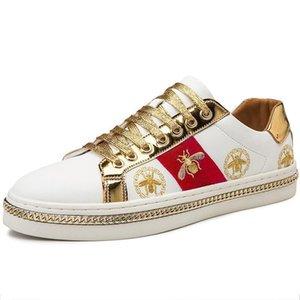 Men Casual Shoes Desinger Uomini Skate Sneakers PU nero in pelle dorata di lusso del ricamo L30