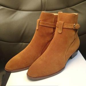 Calda del cuoio genuino di vendita-High Top Suede uomini di modo Harry Wyatt Boots fascino cuneo slp classici marrone caviglia rossi stivali cinturino in denim nero