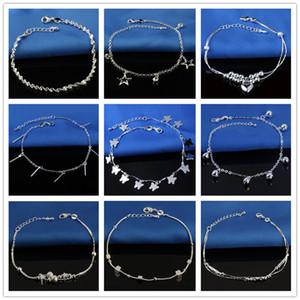 15 Styles Venda quente carimbado 925 Sterling Silver Brac Para Womens Beads simples corrente de prata tornozeleira Pé cadeia de jóias