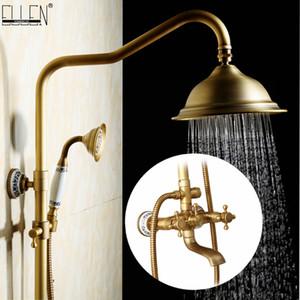 Torneiras Rain Shower antigo conjunto com Mixer chuveiro de bronze mão montado parede para EL4006T Banho Banheira Rainfall Luxo conjunto de duche