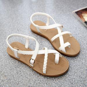 Yu Kube Sommer Schuhe Frau Sandalen Elastische, flache Sandalen Mujer 2019 Riemchen Gladiator Strand Sandalen Damen Flip Flops Weiß