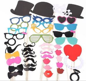 Novo Jogo festivo do evento de 44 Photo Booth Prop Bigode Eye Glasses Lips em uma vara Fotografia Máscara da festa de casamento engraçado
