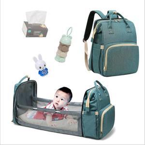 Bebek bezi Nappy Sırt Çantaları Desinger Hangbags Annelik Hemşirelik Çanta Marka Değiştirme Çanta Taşınabilir Katlanmış Beşik Açık Seyahat Çantaları Tote Çanta B7518