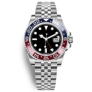 Migliore qualità Mens Blu Rosso lunetta in ceramica Acciaio inossidabile Pepsi orologio meccanico automatico GMT movimento da polso