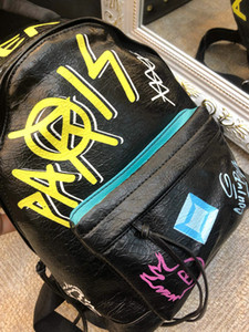 verano europeo 2019 nueva moda mochila graffiti, diseñador de fábrica de la mochila de transporte libre global directa
