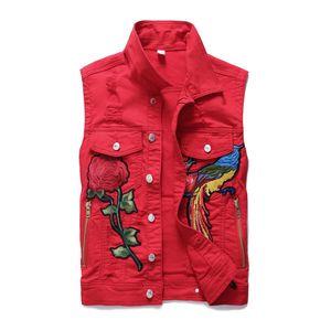 dos homens Phoenix bordado Denim Coletes Nova Flor Águia Monstro Bordado Denim Vest All-match Casual Red mangas Colete