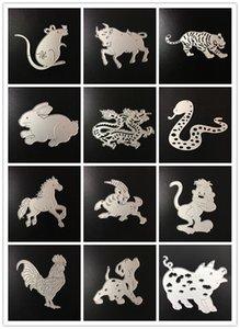 Chinois du zodiaque chinois Metal Cutting Dies Stencil pour le bricolage scrapbooking embosser album papier carte Craft Mold Craft décoratif