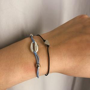 보헤미안 Cowrie 쉘 브레이슬릿 세트 2019 복고풍 기하학 정책 Pop 유행 신축성 로프 Boho Bracelet Glamour Jewelry