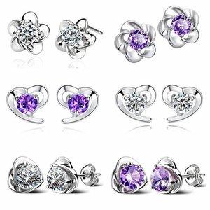 925 Sterling Silver Heart Shaped Stud Earrings CZ Zircon Crystal Flower Stud Earrings for Women Wedding Ear Stud Earring