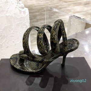 Womens sandals python printed Coiled ankle strap sandals 2020 new fashion luxury designer heels Spiral Sandals summer flip flops z02