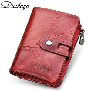 Dicihaya New 2019genuine Leather Women Wallet Samll Women Leather Wallets Brand Coins Purse Red Leather Wallets Card Holder Y19051702