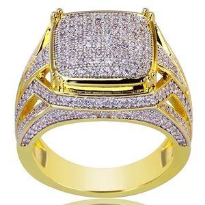 Luxury Plated 18k Yellow Gold Anello quadrato riempito naturale pietra preziosa White Sapphire Diamond Ring Wedding proposta sposa Men Ring