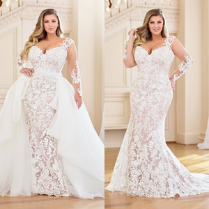Stunning Plus Size Mermaid Lace Wedding Dresses With Detachable Train Long Sleeves Bridal Gowns Sweetheart Neck Trumpet Vestidos De Novia