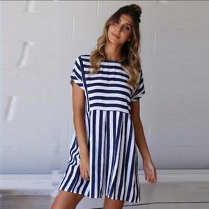 2018 Mode für Frauen Striped Printed lose Sommer-Kleid mit Rundhalsausschnitt kurze Hülsen-beiläufige Damen Minikleid New