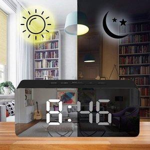 12H / 24H Display digital despertador Espejo, LED de escritorio relojes de mesa digital, luces de noche Termómetro Digital Wall Clock