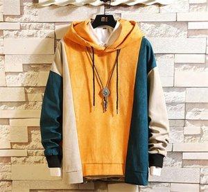 남성 디자이너 패치 워크 Hoddies 대비 색 긴 소매 옴므 의류 남성 가을 겨울 후드 칼라 스웨터 패션 스웨터
