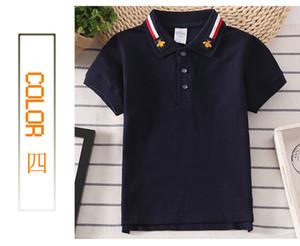 Meninos verão turn-down colarinho t-shirt moda listrado criança roupas crianças manga curta 6 cor camisetas childrens algodão tops roupas