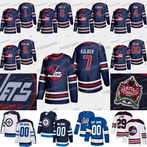 2019 Heritage Classic Winnipeg Jets 1 Eric Comrie 7 Dmitry Kulikov Cameron Schilling Neal Pionk Lars-Erik Sjoberg Anthony Bitetto Jersey