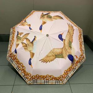 Concise Estilo Clássico Guarda-chuvas Teals Impresso Guarda-chuva Tecido Fimbria para o Presente Dia Ensolarado Ao Ar Livre Indispensável Sunshade