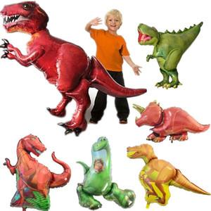 Hot Gigante Verde Dinosaurio Foil Globo Feliz Cumpleaños Papel Banner Para Jurásico Dino Mundo Decoraciones Fiesta de la selva Suministros Niños Juguete